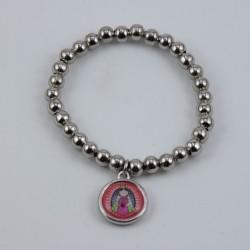 Pulsera Nuestra Señora de Guadalupe (Roja) bolitas de metal, elastica