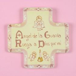 Cruz Angel de la Guarda rosa, madera pintada a mano