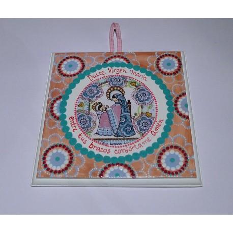 Cuadro Virgen con Niño,pintado a mano, 15x15. La Dulce Compañía