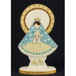 Virgen de pie, 20 cm, manto azul