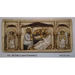Retablo estilo románico, 45cm X21cm.