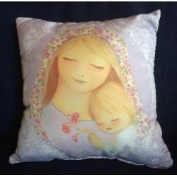 Almohadón Virgen con Niño, celeste.