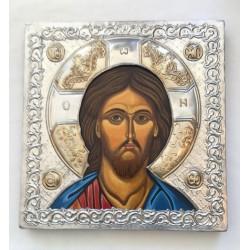 Icono de Jesús repujado, cuadrado