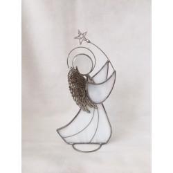 Ángel de vidrio, blanco, con estrella, 4.