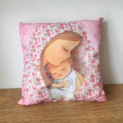 Almohadón Angelito silueta rosa.