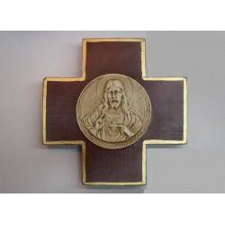 Cruz con medallón del Sagrado Corazón, bordó.