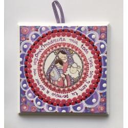 Cuadro Virgen con Niño y oveja, pintado a mano, violeta, 15x15. La Dulce Compañía