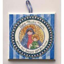 Cuadro Virgen con Niño, fondo rayado azul, 15x15. La Dulce Compañía