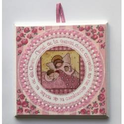 Cuadro Angel de la Guarda rosa, 15x15. La Dulce Compañía