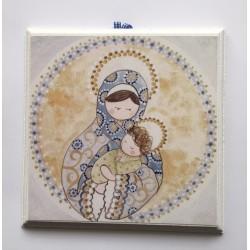 Cuadro estampa Virgen con Niño y oveja, celeste, 13x15. La Dulce Compañía