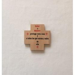 Bendicion cruz madera pintada a mano 9