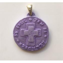 Medalla de resina lila, engarce de plata, 4,5cm