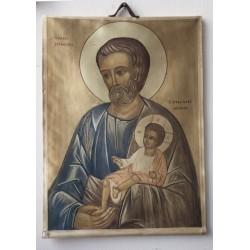 Icono de San José en seda, 30x22 cm.