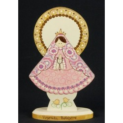 Virgen de pie, 20 cm, manto rosa